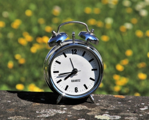 Alarm Clock Outside in Springtime