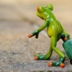 Green Frog Walking Away with Roller Bag
